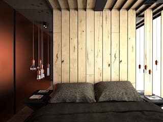 OES architekci Modern style bedroom Copper/Bronze/Brass Brown