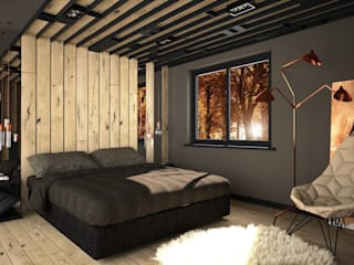 OES architekci Modern style bedroom Solid Wood Beige