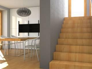 projekt wnętrza domu jednorodzinnego: styl , w kategorii Jadalnia zaprojektowany przez ŁUKASZ ŁADZIŃSKI ARCHITEKT