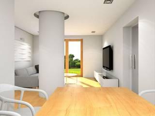 projekt wnętrza domu jednorodzinnego: styl , w kategorii Salon zaprojektowany przez ŁUKASZ ŁADZIŃSKI ARCHITEKT