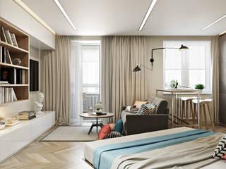 СВЕТЛАНА АГАПОВА ДИЗАЙН ИНТЕРЬЕРА Scandinavian style bedroom Grey
