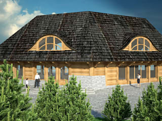 Karczma widokowa: styl wiejskie, w kategorii Domy zaprojektowany przez Project Harmonia Pracownia Architektoniczna