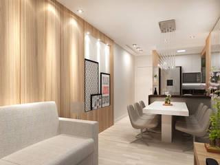 Área social de um apartamento:   por Estúdio Criativo Arquitetura e Interiores,Moderno