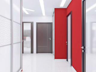 Minimalistyczny korytarz, przedpokój i schody od Ольга Рыбалка Minimalistyczny