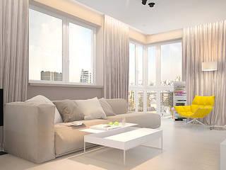 Квартира в ЖК Кристалл Dmitriy Khanin Гостиная в стиле минимализм