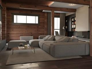 Минималистичный интерьер двухэтажного дома из клееного бруса для семейной пары Гостиная в стиле минимализм от EcoHouse Group Минимализм