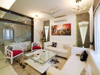 SADHWANI BUNGALOW 1 Square Designs Modern living room Marble White