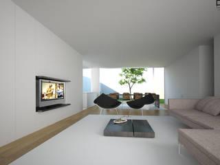 CASA BI-FAMILIAR AG_PÓVOA DE VARZIM_2011 Salas de estar minimalistas por PFS-arquitectura Minimalista