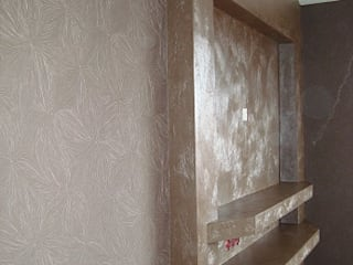 """Декоративное покрытие в технике """"пакет"""". Стена в спальне: Спальни в . Автор – Decor-Live,"""