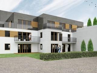 Widok dziedzińca wewnętrznego strefy mieszkaniowej: styl , w kategorii Centra handlowe zaprojektowany przez ARCH.SAR Daniel Sarna