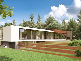 Dom nad jeziorem Nowoczesne domy od KM rubaszkiewicz Autorska Pracownia Architektury Nowoczesny