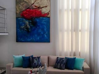 Estar, hall dos quartos e escada: Salas de estar  por Marlon Vilela ,Moderno