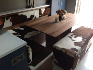 Cowhide Bench Seating von Hide and Stitch Ausgefallen