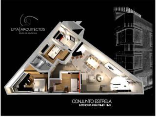 Conjunto Estrella CDMX: Comedores de estilo moderno por Lima Arquitectos