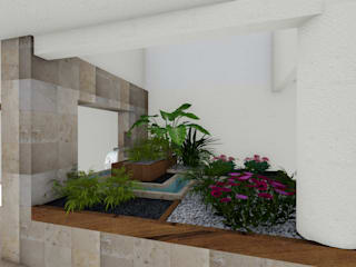 A-labastrum arquitectos Minimalist style garden Limestone White