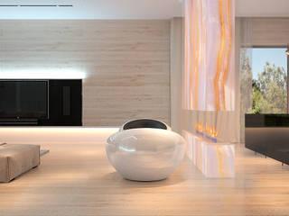 Московская квартира Dmitriy Khanin Гостиная в стиле минимализм Дерево Бежевый
