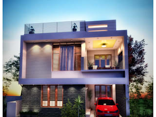 3 Bedroom - 1633 SFT Home- Elevation concept 3:   by eHomez