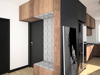 OES architekci Modern corridor, hallway & stairs Black