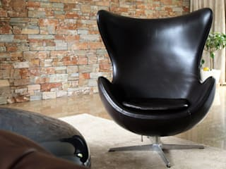 Brown leather egg chair. Living room interior design:   by Lena Lobiv Interior Design