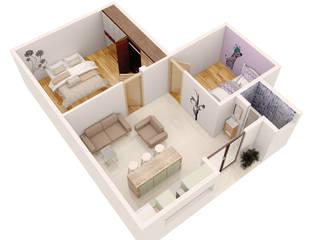 Departamento JPSH Casas minimalistas de AErre Minimalista Tablero DM