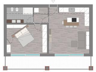 layout - stato di progetto: Pareti in stile  di Silvana Barbato, StudioAtelier