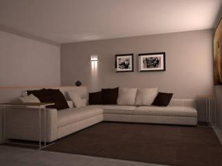 Visualizzazione 3D - zona cinema: Sala multimediale in stile  di Silvana Barbato, StudioAtelier