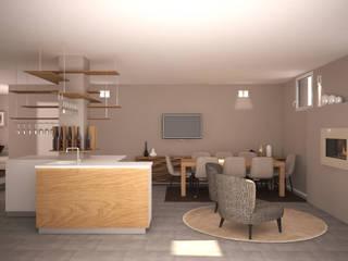 Visualizzazione 3D - taverna: Soggiorno in stile  di Silvana Barbato, StudioAtelier