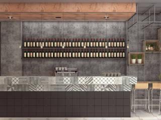 Visualizzazione 3D - bancone: Bar & Club in stile  di Silvana Barbato, StudioAtelier