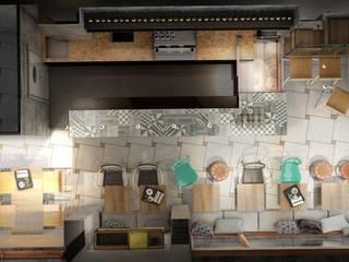 Visualizzazione 3D - vista dall'alto layout e arredi: Bar & Club in stile  di Silvana Barbato, StudioAtelier