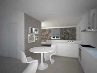 Visualizzazione 3D - sala da pranzo, cucina: Sala da pranzo in stile  di Silvana Barbato, StudioAtelier