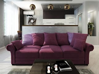 ДизайнМастер Eclectic style living room Purple/Violet