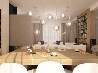 Aranżacja wnętrza salonu z kominkiem w domu jednorodzinnym - Tissu. Nowoczesna jadalnia od TISSU Architecture Nowoczesny