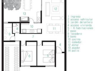 """vivienda Pro.Cre.Ar modelo """"America 2 dormitorios"""" (Modificada): Casas de estilo moderno por JUNE arquitectos"""
