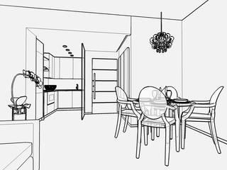Casa E - progettazione soggiorno con cucina a vista: Soggiorno in stile in stile Moderno di Carla Costa