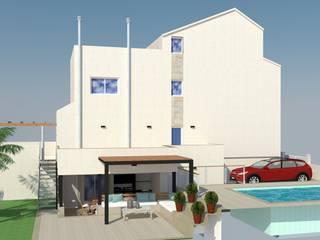 Reorganización espacio exterior vivienda y reforma fachada Casas de estilo mediterráneo de Mireia Cid Mediterráneo