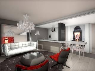 Réhabilitation contemporaine et chic d'un appartement, projet 3D réHome Salon moderne