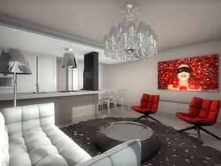 Réhabilitation contemporaine et chic d'un appartement, projet 3D réHome Salon original