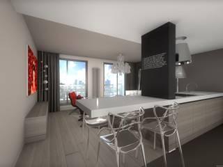 Réhabilitation contemporaine et chic d'un appartement, projet 3D réHome Salle à manger moderne