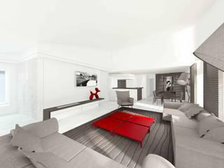 Projet 3D de rénovation contemporaine pour appartement à Saint-Tropez réHome Salon moderne
