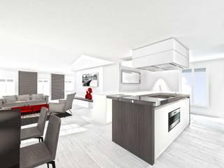 Projet 3D de rénovation contemporaine pour appartement à Saint-Tropez réHome Cuisine classique