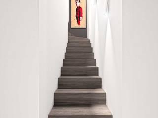 Projet 3D de rénovation contemporaine pour appartement à Saint-Tropez réHome Couloir, entrée, escaliersEscaliers