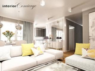 Salon Romantyczny: styl , w kategorii Salon zaprojektowany przez InteriorConcierge