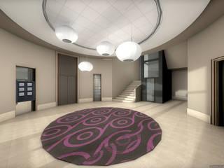 Réhabilitation contemporaine d'un hall d'entrée de bureaux projet 3D réHome Espaces de bureaux originaux