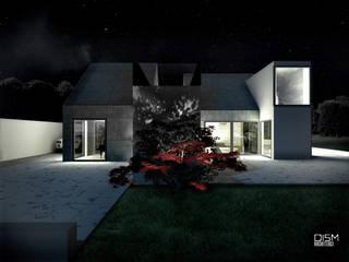 Dom z dachem dwuspadowym: styl , w kategorii Domowe biuro i gabinet zaprojektowany przez DISM Architekci