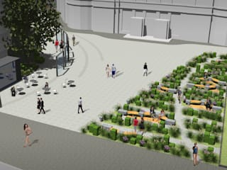 Koncepcja zagospodarowania przestrzeni publicznej pomiędzy ul. Jasna, Zgoda i Złota w Warszawie oraz projekt mebla miejskiego – konkurs: styl , w kategorii  zaprojektowany przez Pracownia projektowa KOS