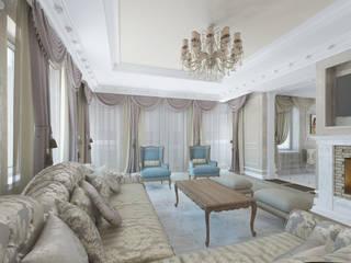 Дизайн-проект загородного дома 450 кв.м. в Володарском районе  : Гостиная в . Автор – Дизайн студия ЭльДиз