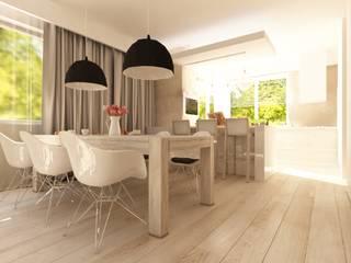 Projekt wnętrz kuchni połączonej z jadalnią w rezydencji - Tissu. Nowoczesna jadalnia od TISSU Architecture Nowoczesny
