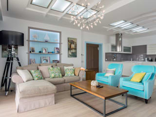 Bellarte interior studio Scandinavian style living room Turquoise