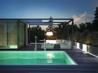 Oświetlenie tarasu.: styl , w kategorii Ogród zaprojektowany przez IGREEN Architektura Krajobrazu i Miejskie Formy