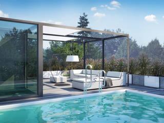 Taras z basenem na dachu.: styl , w kategorii Ogród zaprojektowany przez IGREEN Architektura Krajobrazu i Miejskie Formy